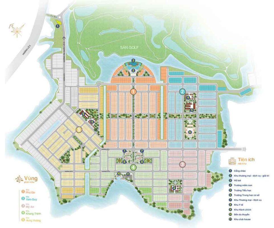 Mặt bằng tổng thể khu 2(Nhà phố, Biệt thự, Trung tâm thương mại)
