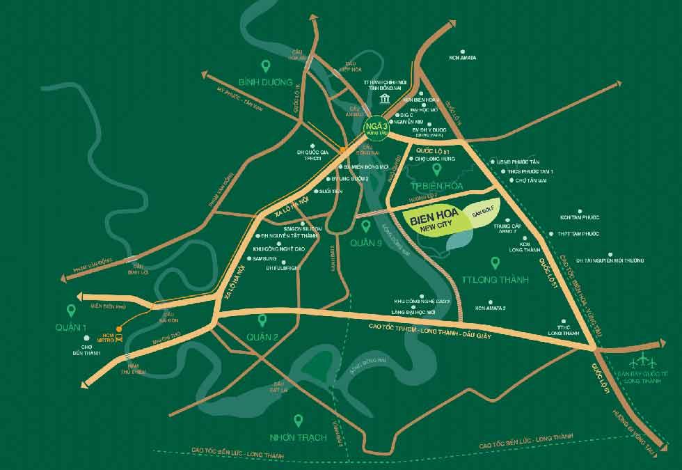 Vị trí dự án Biên Hòa New City